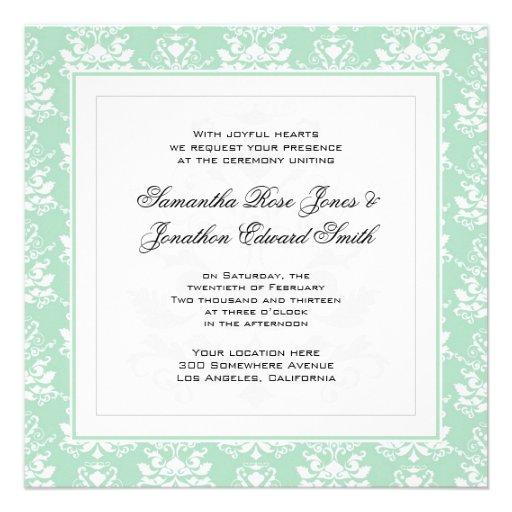 Mint and White Damask Photo Wedding Invitation