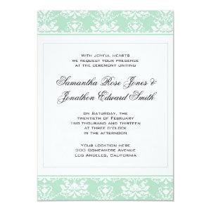 Mint and White Damask Wedding Invitation 5