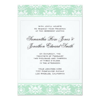 Mint and White Damask Wedding Invitation