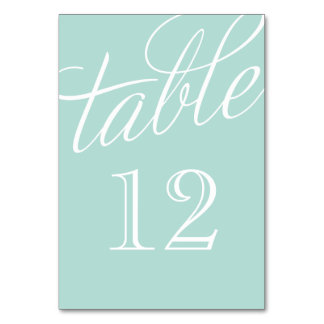 Mint and White Elegant Script Table Numbers Table Cards