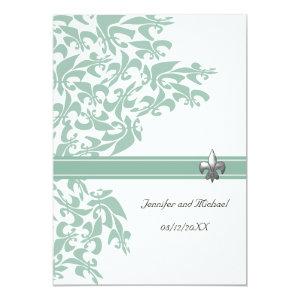 Mint and White Fleur de Lis Design Wedding Invite 5