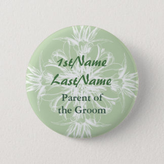 Mint and White Floral ID Tag Button