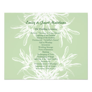 Mint and White Floral Wedding Program