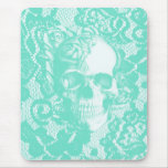 Mint and white lace skull mouse pad