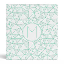 Mint and White Modern Geometric Pattern Monogram Binder