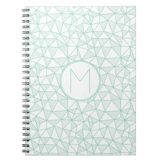 Mint and White Modern Geometric Pattern Monogram Notebook