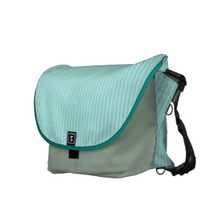 Mint and White Pinstripe Messenger Bag