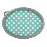 Mint and white polka dot pattern belt buckles