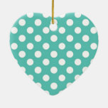 Mint and white polka dot pattern christmas ornament