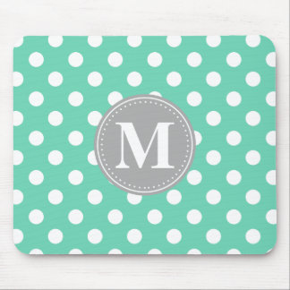 Mint and White Polka Dots Grey Monogram Mouse Pad