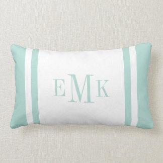 Mint and White Preppy Ribbon Dots Custom Monogram Pillow