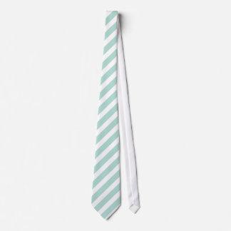 Mint and White Preppy Stripes Tie