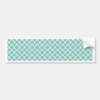 Mint and White Quatrefoil Bumper Sticker