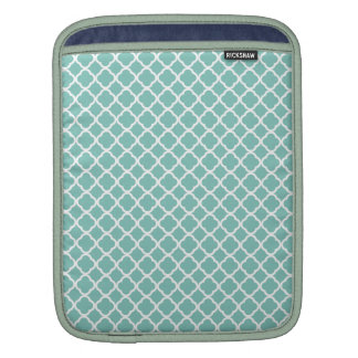 Mint and White Quatrefoil Sleeves For iPads