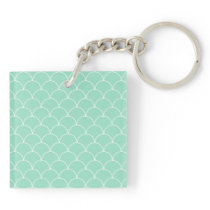 Mint and White Scallop Pattern Keychain