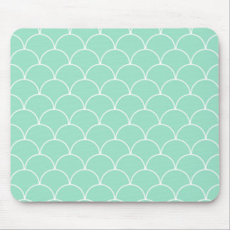 Mint and White Scallop Pattern Mouse Pad