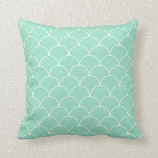 Mint and White Scallop Pattern Throw Pillow