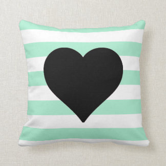 Mint and White Striped Black Heart Throw Pillow