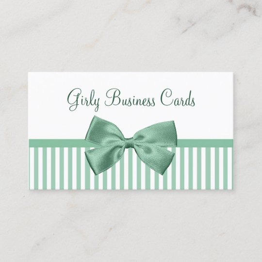 Mint and white stripes with girly light jade bow business card mint and white stripes with girly light jade bow business card colourmoves