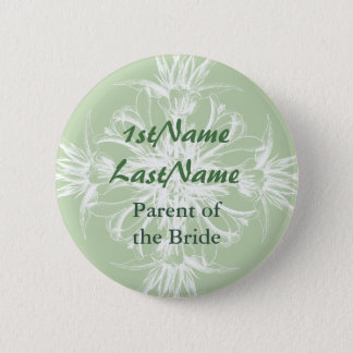 Mint and White Vintage Floral Name Tag Button