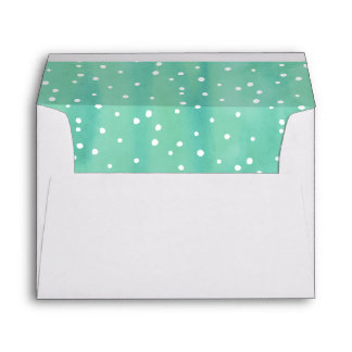 Mint and White Watercolor Dots Envelope