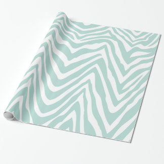 Mint and White Zebra Stripes Animal Print Wrapping Paper