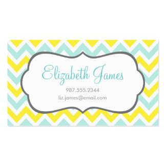 Mint and Yellow Colorful Chevron Stripes Business Card Template