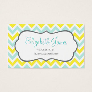 Mint and Yellow Colorful Chevron Stripes Business Card