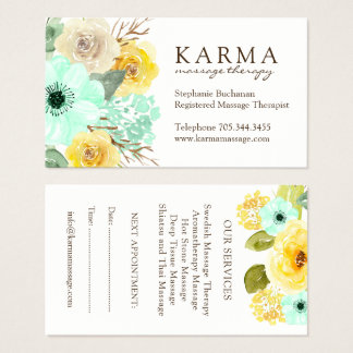 Mint and Yellow Floral Business Cards