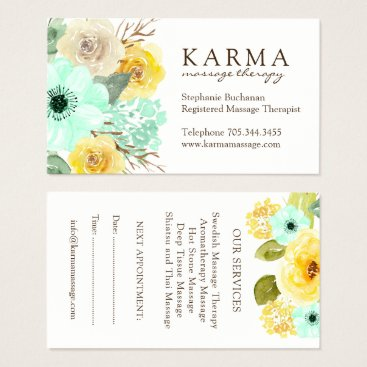 Professional Business Mint and Yellow Floral Business Cards