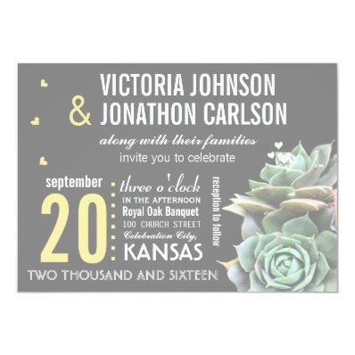 Mint and Yellow Succulent Modern Wedding Personalized Invitation