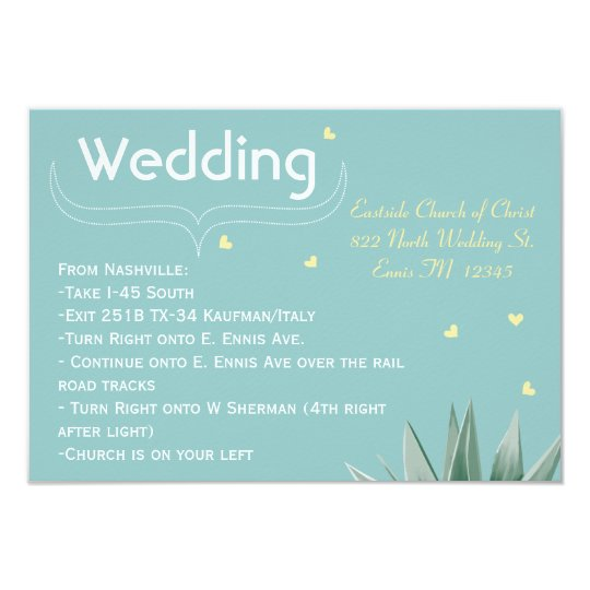 Mint and Yellow Succulent Wedding Card