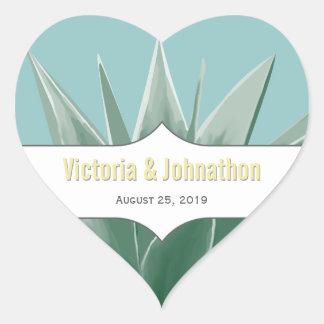 Mint and Yellow Succulent Wedding Heart Sticker