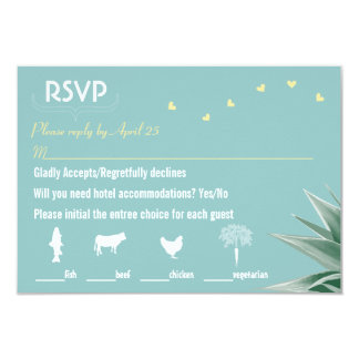 Mint and Yellow Succulent Wedding RSVP Announcements