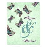 Mint, Aqua and Purple Butterflies Wedding Personalized Invites