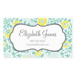 Mint Aqua and Yellow Retro Floral Damask Business Card