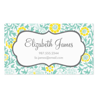 Mint Aqua and Yellow Retro Floral Damask Double-Sided Standard Business Cards (Pack Of 100)