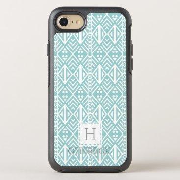 Aztec Themed Mint Aqua Geometric Tribal Pattern Monogram OtterBox Symmetry iPhone 7 Case