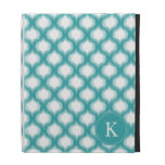 Mint Aqua Ikat Ogee Pattern Monogram iPad Cases
