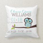 Mint Aqua Owl Baby Birth Announcement Throw Pillows