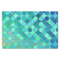Mint Aqua Teal Gold Oriental Moroccan Tile pattern Tissue Paper