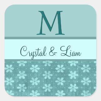 MINT AQUA TEAL GREEN Damask Wedding Monogram Square Sticker