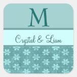MINT AQUA TEAL GREEN Damask Wedding Monogram Stickers