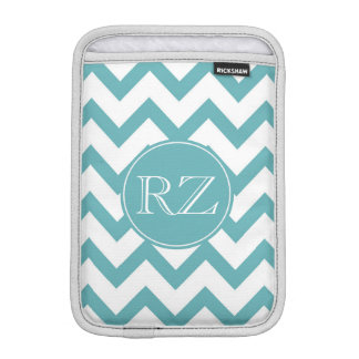 Mint Aqua White Chevron monogram Sleeve For iPad Mini