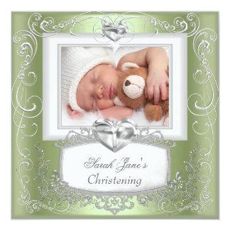 Mint Baby Girl or Boy Christening Baptism Cross Card