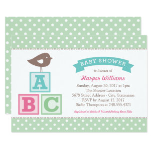 Abc baby shower invitations zazzle mint baby shower invitation abc alphabet blocks filmwisefo