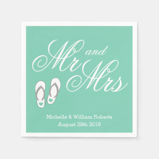 Mint beach slipper Mr and Mrs wedding napkins