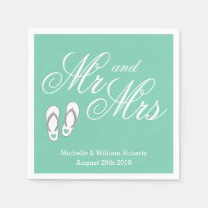 Mint beach slipper Mr and Mrs wedding napkins Standard Cocktail Napkin