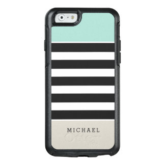 Mint Beige Black White Stripes Monogram Name OtterBox iPhone 6/6s Case