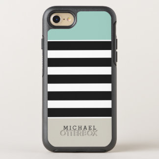 Mint Beige Black White Stripes Monogram Name OtterBox Symmetry iPhone 7 Case